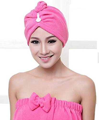 Junson Bathroom Women Magic Microfiber Hair-Drying Towel Cap Bathing Head Wrap-Rosy