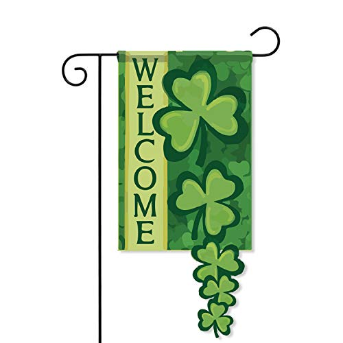 AVOIN Welcome Quote Shamrock Double Sided Applique Garden Flag | 12.5 x 18 Inch Spring Irish St Patricks Lucky Clover Decorative House Flag for Outdoor Frontdoor Yard Party
