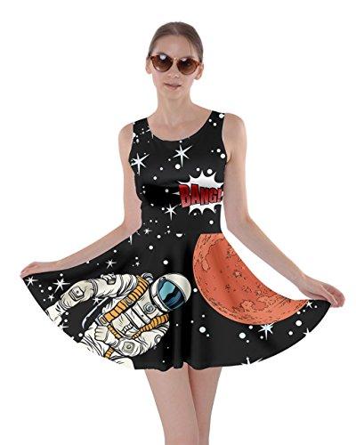 CowCow Womens Dark Indigo Astronaut Pop Art Skater Dress, Dark - XL
