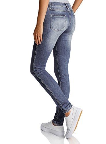 oodji Ultra Mujer Vaqueros Skinny de Tiro Medio Azul (7519F)