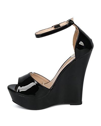 Alrisco Kvinnor Plattform Kilklack - Peep Toe Kil Sandal - Ankelbandet Dressat Avslappnad Mångsidig Trendiga Häl - He08 Av Liliana Samling Svart Patent