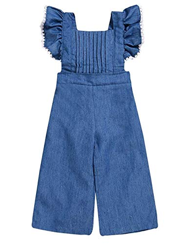 (Yoveme Toddler Baby Girl Summer Clothes Overalls Backless Jeans Denim Suspenders Outfit Bell-Bottom Blue Pants (B-Blue, 18-24Moths))