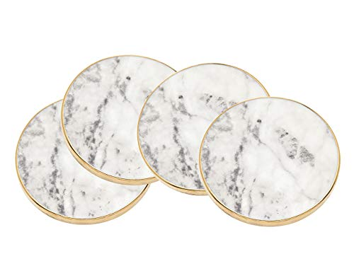 Godinger Coaster Set, Round Marble Gold Edged - Set of ()