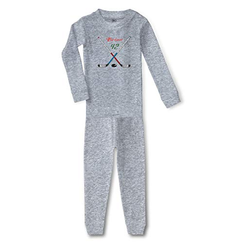 Personalized Custom Hockey Sports Player Hockey Sticks Cotton Crewneck Boys-Girls Infant Long Sleeve Sleepwear Pajama 2 Pcs Set - Oxford Gray, 5/6T]()