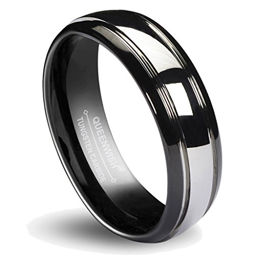Queenwish 6mm Tungsten Carbide Wedding Band Black Silver Dome Gunmetal Bridal Engagement Ring of Couples ()