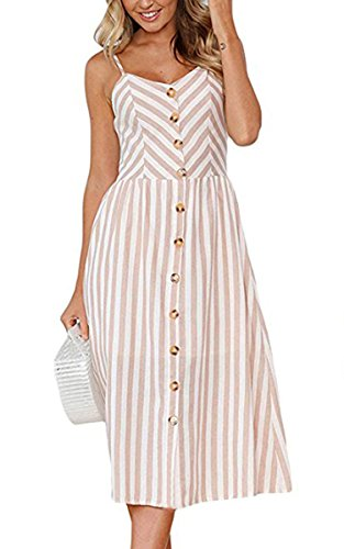 Angashion Women's Dresses-Summer Floral Bohemian Spaghetti Strap Button Down Swing Midi Dress with Pockets 0895 Light Coffee L ()