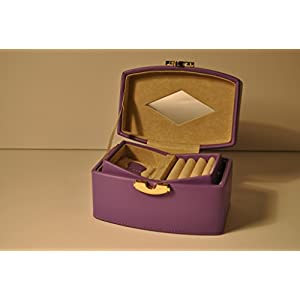 Budd Leather Jewel Box with Travel Box, Medium, Purple