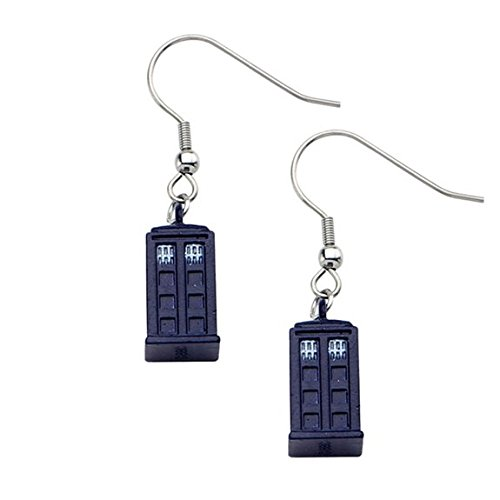 Doctor Who Blue Tardis with Stainless Steel Hook Dangle Earrings (Hot Topic Doctor Who)