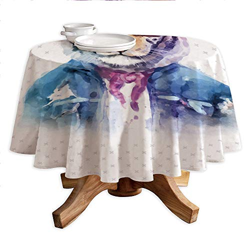 - Quirky Decor Round Polyester Tablecloth,Intellectual Tiger with Scarf Torn Denim Jacket and Glasses Watercolor Artwork Decorative,Dining Room Kitchen Round Table Cover,60