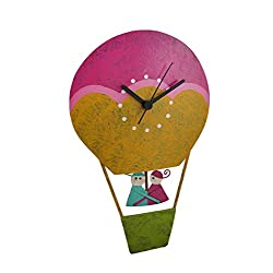 Metal Wall Clocks Hand Painted Recycled Metal Hot Air Balloon Pendulum Wall Clock 7 X 11 X 2 Inches Multicolored Model # 1013A-GN-00