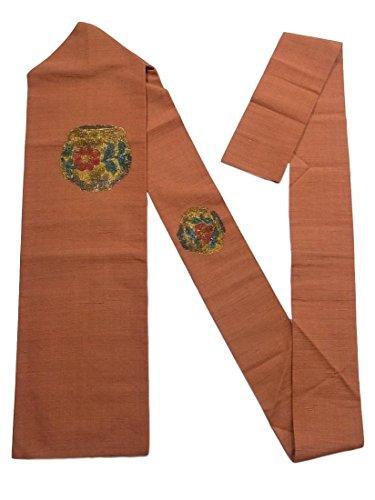 遠えペイン役立つリサイクル 名古屋帯 紬 壺文に赤い花模様 正絹
