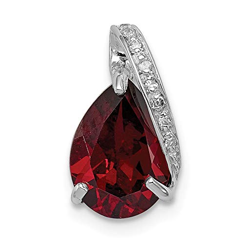 (925 Sterling Silver Pear Red Garnet Pendant Charm Necklace Gemstone Fine Jewelry Gifts For Women For Her)