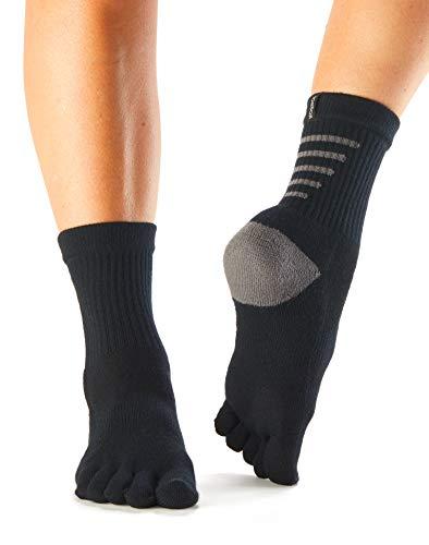(toesox UltraSport Performance Medium Weight Crew Toe Socks (Black - Spring Collection 2017))