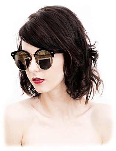 O2 Eyewear 97018 Premium Oversize Cats eye Womens Mens Mirror Funky Flat Sunglasses (BLACK, SILVER / size - Case Funky Glasses