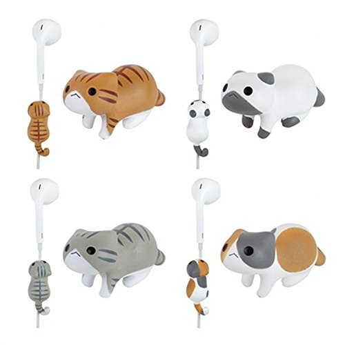 Price comparison product image iAnko 4 Pcs (Whole Set) Little Cat Cute Cartoon Wire Clip Decoration/Cord Organizer Earphone Wrap Winder/ Fixer Holder/cord Manager/cable Winder,fit for iphone 4 4s 5 5s 6 6plus, Samsung, HTC, LG