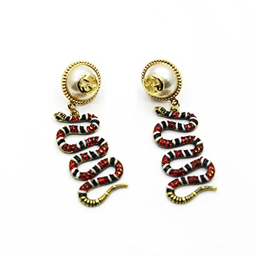 Vintage Baroque Big Pearl and Crystal Rhinestones Red Banded Snake Crawler Earrings with Matte Finish