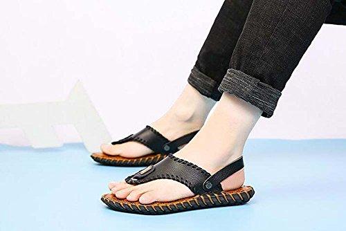 Clip Hombre Deslizador Juvenil Talla para Marea Amarillo Zapatos Negro 43 pie Dedo Casuales Chancleta del Salvaje Negro Británica 38 8pSxq7q