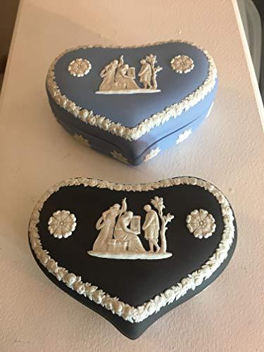Pair of Wedgwood Vintage Jasperware Heart-Shaped Boxes - Black & Blue