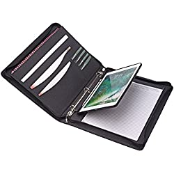 Zipper Binder Portfolio with iPad Holder Notepad Holder, Organizer iPad Padfolio with 3-Ring Binder for New 9.7 iPad