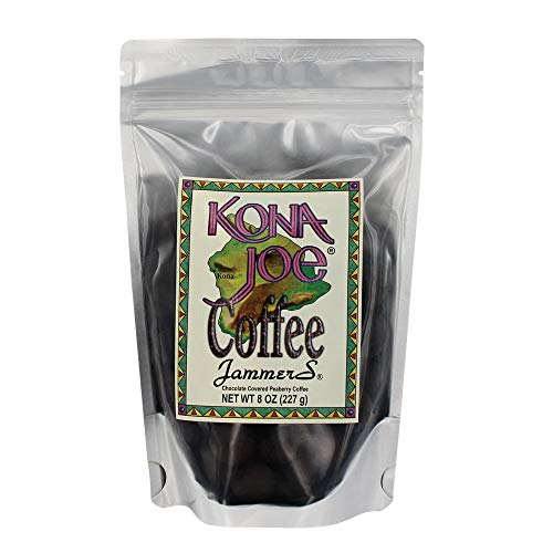 Kona Joe Coffee Jammers, Chocolate Covered Roasted Peaberry Coffee Beans from Hawaii (8 oz Resealable Bag) (Sugar Chocolate Covered)