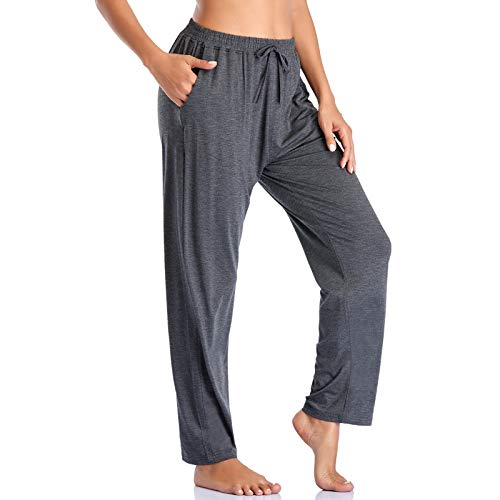 ASIMOON Women's Yoga Pants Soft Comfy Stretch Loose Straight Casual Athletic Pants Running Workout Lounge Pants with Pockets
