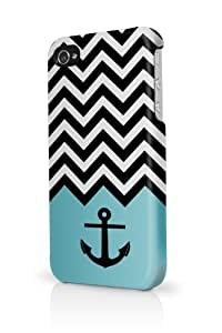 Anchor Aqua Chevron iPhone 5 Case - Fits iPhone 5 Full Print Plastic Snap On Case
