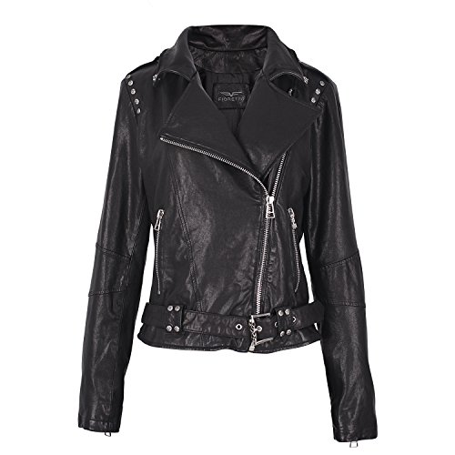 Fioretto Womens Leather Jackets Punk Rock Style with Rivets Italian Sheepskin Leather Driving Coats Motorcycle Jackets Everyday Dressing L