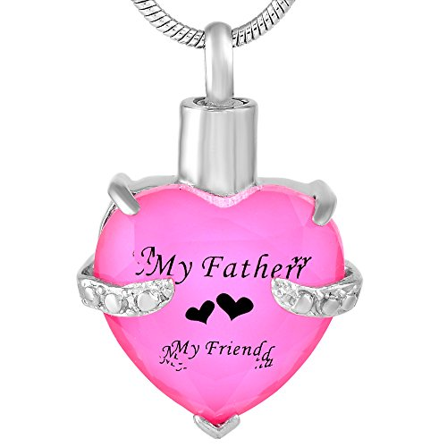 Glass Heart Memorial Pendant Jewelry Cremation Necklace Human Ashes Urns Gift- My Mother My Father (Father Pink Black)