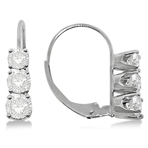 - Three-Stone Leverback Diamond Earrings 14k White Gold (3.00ct)
