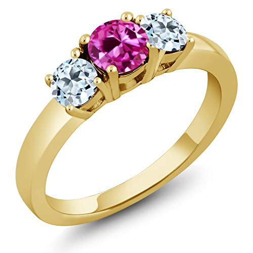 1.21 Ct Pink Created Sapphire Sky Blue Topaz 18K Yellow Gold Plated Silver Ring (Size 8)