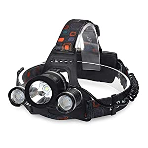 Diswa LED Head Lamp Flash Light Torch for Camping Trekking Caving Hiking Reading Running with Adjustable Rechargeable…
