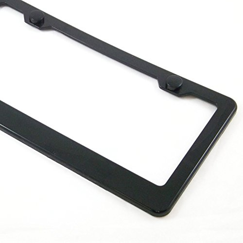 License Plate Frame Black Plain Blank ABS Tag Holder with Matching Caps Car Truck Auto Cover (Car Plain)