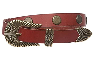 """1"""" (24mm) Western Skinny Round Circle Studded Solid Leather Belt"""