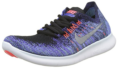d9901a8ad2b9 Amazon.com NIKE Women s Free RN Flyknit 2017 Running Shoe Black Metallic  Silver- ...
