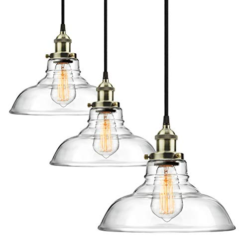3-Pack Pro 1-Light Industrial Edison Vintage Hanging Lamp, Height Adjustable Glass Pendant Light, Antique Brass Brushed E26 Socket, Perfect for Kitchen, Dining Room, Ceiling Mounted Chandelier Fixture