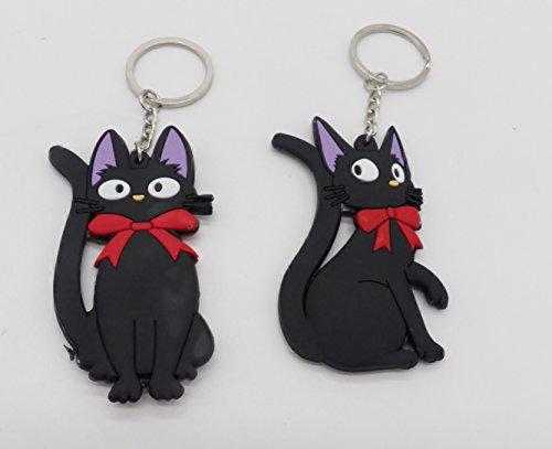 Cat Bendable Keychain - 2 Kiki's Delivery Service Jiji Black Cat PVC Bendable Rubber Key Chain Set ~US Seller~