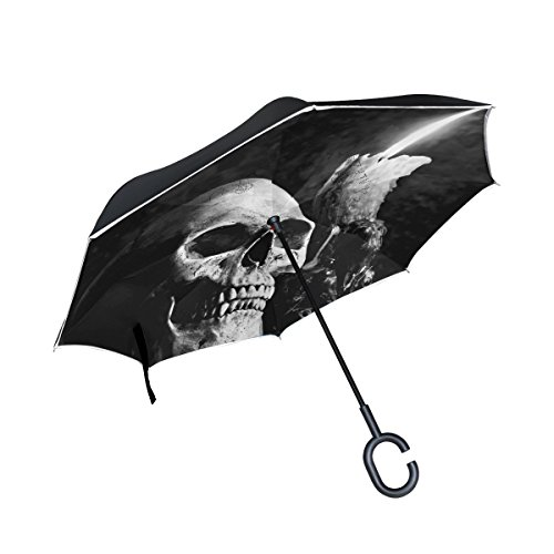 Gothic Skull Candle Stands - Handysome Gothic Skull Candle Reverse/Inverted Double-Layer Waterproof Straight Umbrella, Self-Standing & C-Shape Inside-Out Folding for Car Use, in Night Edge Reflective
