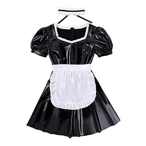 iiniim Disfraz de Criada Mucama para Mujer Sexy Conjunto de Lenceria Cuero Mini Vestido Corto Tentacion French Maid Cosplay Costume Wetlook Negro A Small