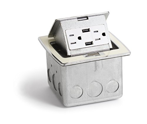 Lew Electric PUFP-CT-OW-2USB Kitchen Countertop Pop Up 15A Outlet with USB Charging by Lew Electric