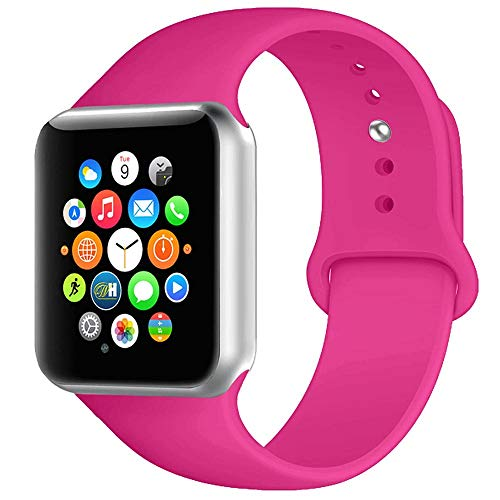 BOTOMALL Compatible with Iwatch Band 38mm 40mm 42mm 44mm Classic Silicone Sport Replacement Strap Bracelet for Iwatch All Models Series 4 Series 3 Series 2 1 (Barbie Pink,38/40mm M/L)]()