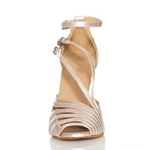 Minitoo QJ6105 Womens Peep Toe PU Leather Salsa Tango Ballroom Latin Fisherman Dance Sandals Brown-10cm Heel gaKxFY