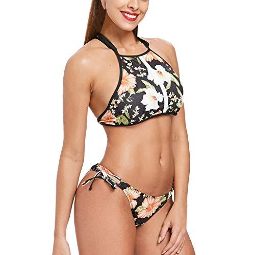 Pandaie-Womens Swimsuits, Fashion Women Bikini Swimsuit Print Bikini Swimsuit Sexy Swimwear Black