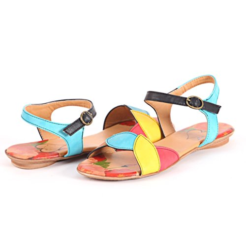 Alexis Leroy - Alexis Leroy Womens Shoes Candy Color Floral Pattern Ankle Strap Dress Flat Sandals para mujer Verde