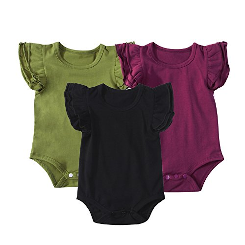 (Mubineo Infant Baby Girls Basic 3-5-8-Pack Ruffle Short Sleeve Cotton Bodysuits (Forest(3-Pack), 12-24 Months))