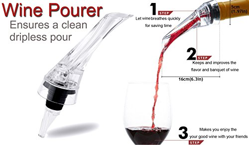 Wine Aerator Pourer by K&K With A Stopper For Wine Bottle Pouring No Drip Essential Wine Accessories by K&K (Image #1)'