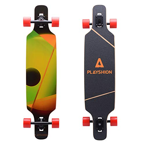 Playshion 39 Inch Drop Through Freestyle Longboard Skateboard Cruiser Sunspot