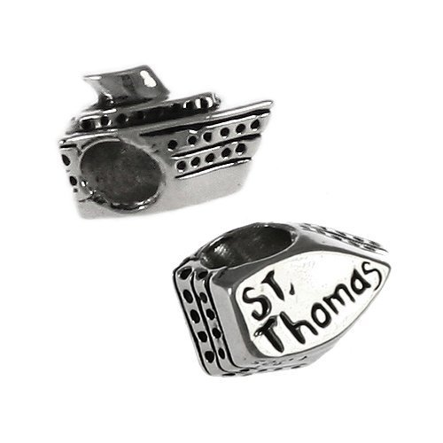 St. Thomas Cruise Ship - Handmade Sterling Silver Large Hole Charm (Thomas Cruise Ship)