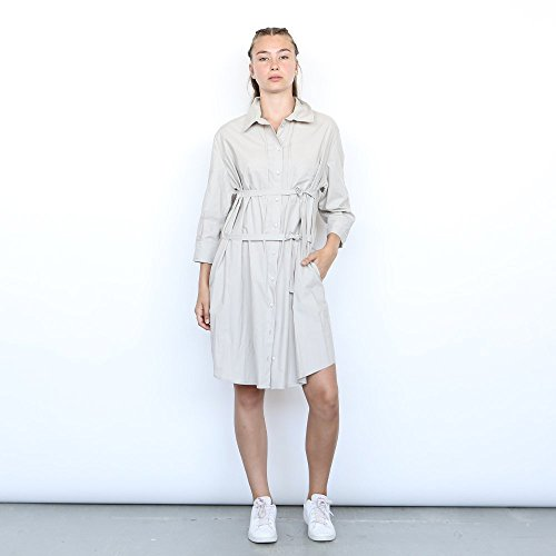 Joli Dress,button down shirt women ,Cotton Midi dress, Grey . by Naftul