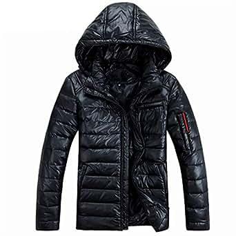 Amazon.com: Mens Winter Hooded Down Jackets Male Fur