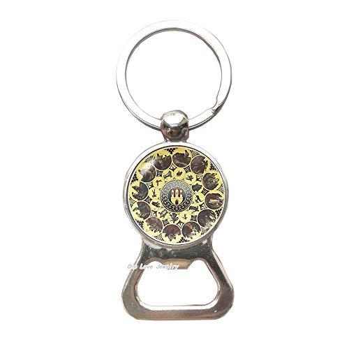 Clock Key Ring Calendar clock Bottle Opener Keychain Clock jewelry Antique clock Birthday gift Astronomy clock Prague style Art Key Ring Old clock Bottle Opener Keychain,TAP360